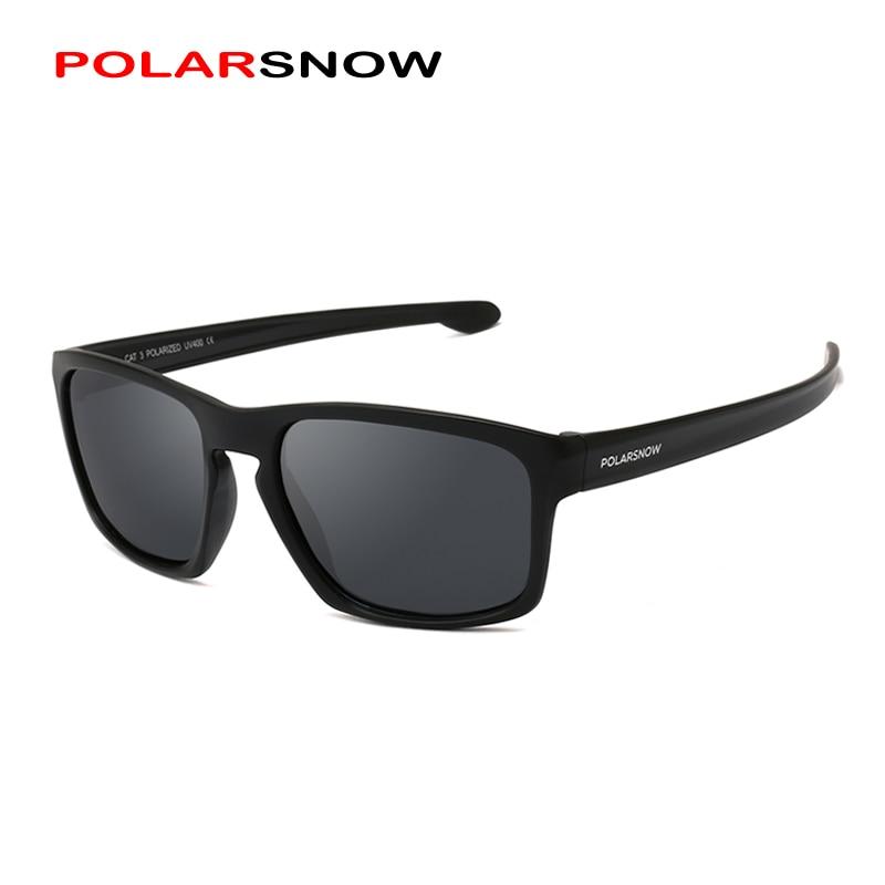 POLARSNOW אופנה משקפי שמש גברים Polarized נהיגה מראות נקודות ציפוי שחור מסגרת Eyewear זכר UV400 משקפי שמש P8966