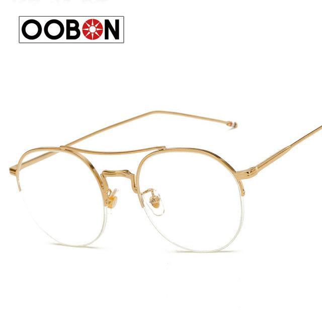 OOBON Marca Óculos Frame Retro óculos de Aro Cheio de Óculos De Ouro Quadro Óculos Redondos Do Vintage Óculos de Computador Unisex NENHUM Grau