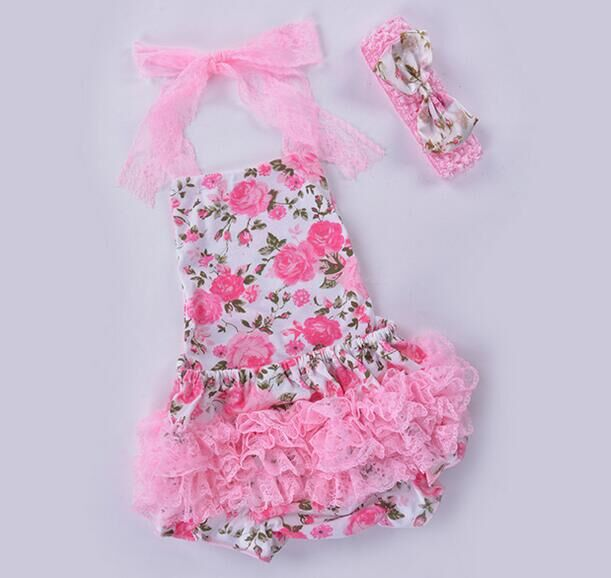 Baby Costumes Lace Petti Romper Dress rose set 1st Birthday Outfits Bebe Jumpsuit Newborn Girl Clothes Infant Clothing