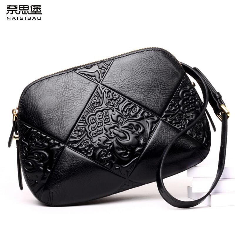 NAISIBAO New women bag Superior cowhide leather brands cowhide fashion genuine leather embossing women shoulder messenger bag new mma gloves grappling martial arts leather genuine cowhide punching bag mitts sparring cage fighting combat training
