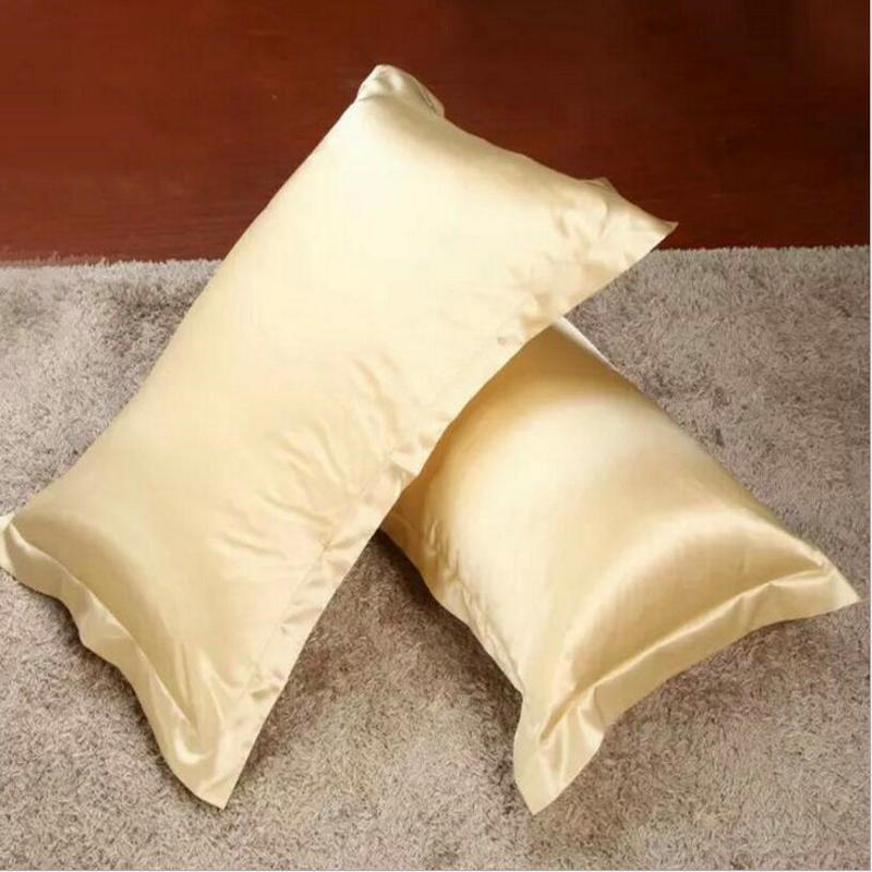Black Satin Pillowcase Impressive 60x60cm Imitated Silk Pillow Cover Rectangle Bed Pillow Case Solid