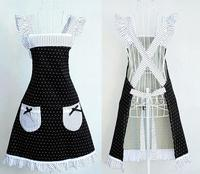 Princess Frill Lace Black White Polka Dot Kitchen Cooking Aprons for Women with Pockets Cross Back Drop Shipping