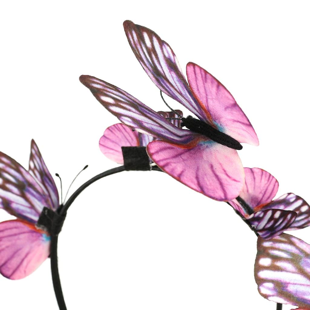 Fashion Women Cloth 3D Simulation Butterfly Headband Boho Xmas Bridal Bridesmaid Hair Accessories