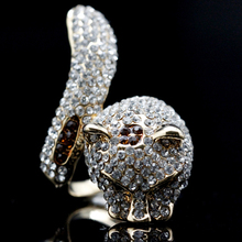 Chran Unique Animal Style Rhodium Plated Ladies Jewelry Wholesale Exquisite Charming Snail Shape Crystal Rings for Women