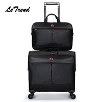 LeTrend Buy Luggage Get the Bag Fress Nylon Travel Multi function Luggage Trolley Men Large Capacity Travel Rolling Luggage