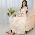 flare sleeve hollow out elastic waist  women long white dress spring summer 1599plus  BW