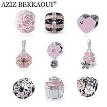 Lovely Pink Beads Fit Original Pandora Bracelet Necklace Big Hole Diy Charms For Women Enamel Heart Shape Pendant For Girl Gift