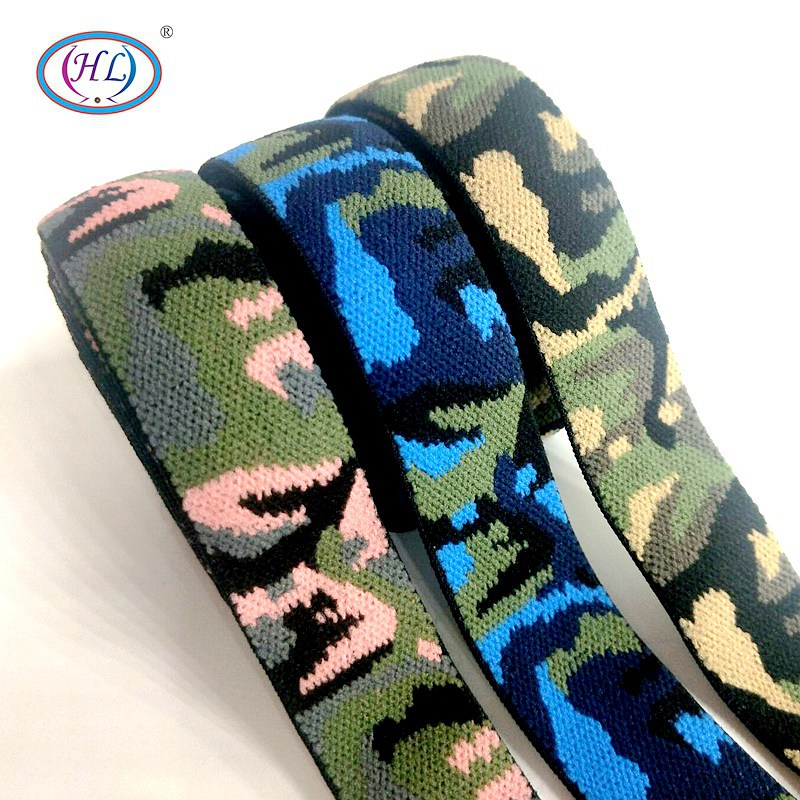 HL 25MM 2 Meters/package Three Colors Camouflage Pattern Elastic Band Apparel Bags Shoes Home Textile Sewing Accessories DIY