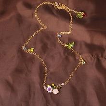 Ле Nereides простой элегантный цветок камень лист божья коровка ожерелье женщины ну вечеринку пром свадебные аксессуары мода ювелирных изделий