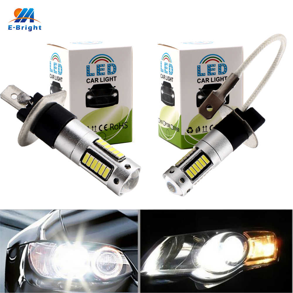YM E-Bright 1Piece LED Fog Light Headlamps H1 H3 4014 30 SMD Car Styling Fog lamp Headlight 12V DC White 600Lm Nonpolarity