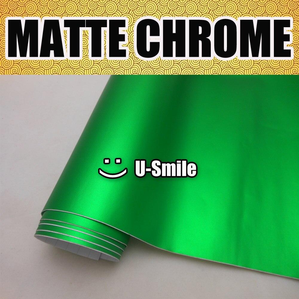 Green Matte Chrome Vinyl Wrap Satin Chrome Green Vinyl Film Roll Air Free Vehicle Wraps Size:1.52M x 20M nl6 green matte silver