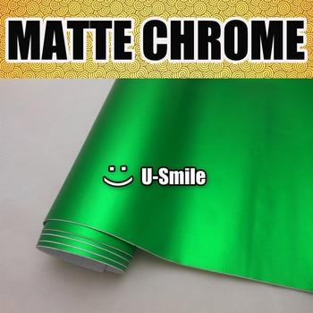 Green Matte Chrome Vinyl Wrap Satin Chrome Green Vinyl Film Roll Air Free Vehicle Wraps