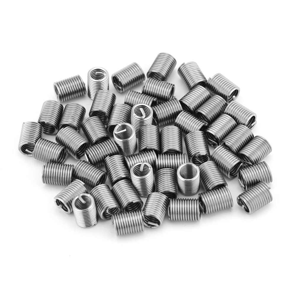 50pcs//set Stainless Steel M6x1.0x1.5D Insert Length Helicoil Wire Thread Insert
