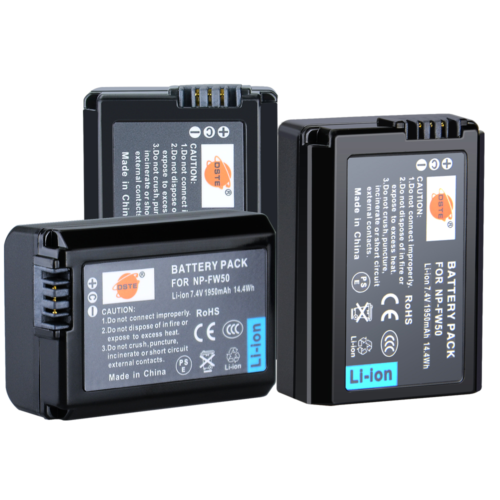 DSTE 3pcs NP-FW50 np-fw50 Camera Battery for Sony NEX-7 NEX-5N NEX-F3 SLT-A37 A7 NEX-5R NEX-6 NEX-3 NEX-3A Alpha 7R II np fw50 battery for sony nex 3c nex 3d nex 5 nex 5a nex 5db alpha a7