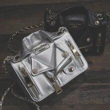 Brand Designer Chain Motorcycle Bags Women Clothing Shoulder Rivet Jacket Bags Messenger Bag Women Leather Handbags