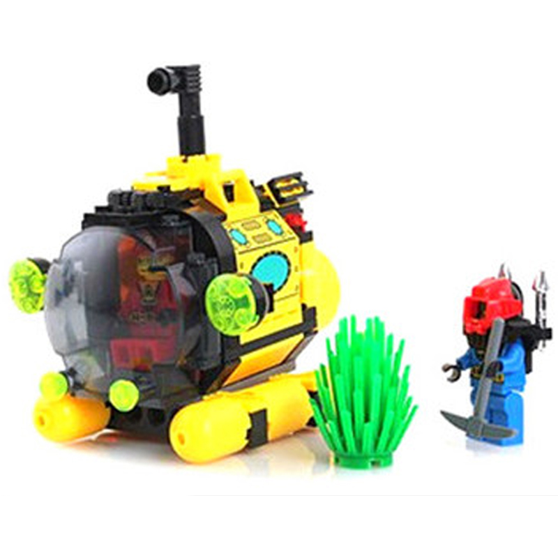 1213 ENLIGHTEN City Series Treasure Hunt Tiny Submarine Model Building Blocks Classic Figure Toys For Children Compatible Legoe 1916 enlighten city water police station series plan breakout model building blocks figure toys for children compatible legoe
