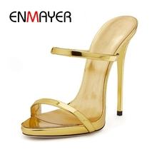 ENMAYER New arrival female classic shining extremely high heels women  Slip-on elegant sexy weeding party shoes ZYL239