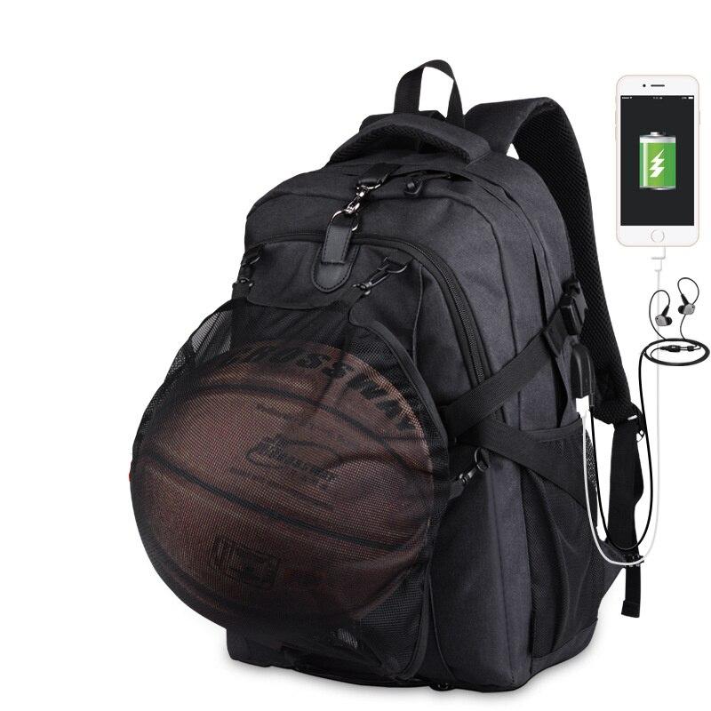 Men Sport Basketball Football Backpack School Bag For Teenager Boys Soccer Ball Pack Laptop Football Net Gym Basketball Bags