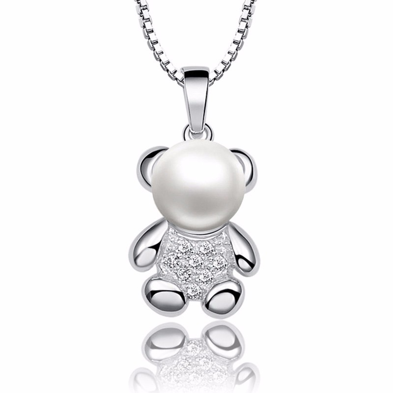 Pearl choker pendant necklace sterling silver jewelry for women lovely bear charms pd10194 (10)