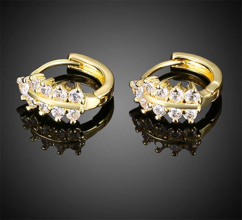 gold old Plated 100% Austria Crystal Flower Design Drop Earrings ...