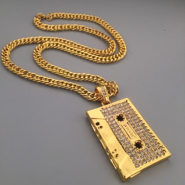 Music DJ Pendants Necklace Golden Silver Hip Hop Chains for Men Alloy Cuban  Link Chain Rock Music DJ Chunky Hip Hop Jewerly 2cb3f60e983c