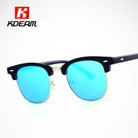 Highly Street Fashion Navy Sunglasses Women Half Gold Coating Sunglass Men Keyhole Bridge Glasses UV400 KDEAM CE All-fit