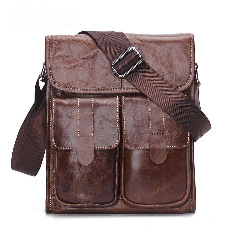 2017 New Mens Business Bag Brand Genuine Leather Male Fashion Shoulder Bags Luxury Cow Leather Handbag Men Crossbody Satchel Bag