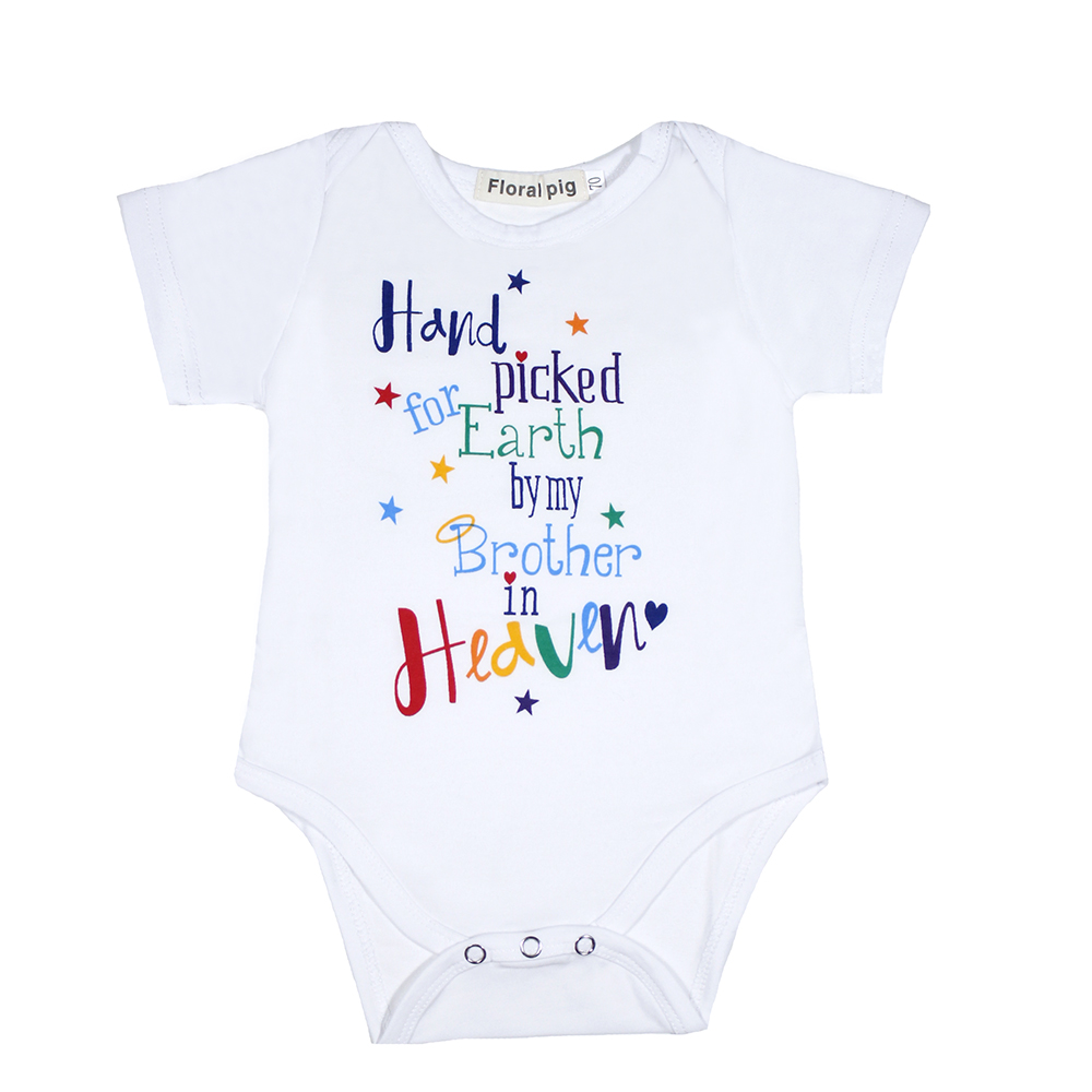 2018 Newborn Summer Infant Clothes Hand Picked For Heaven Print White Short Sleeve Baby Girls Bodysuits Funny Letter Print Baby