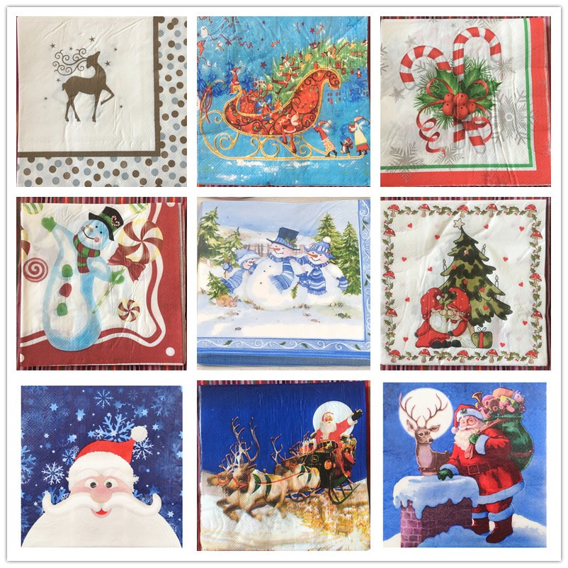 AHA 2 Single Paper Napkins for DECOUPAGE Crafts Collection Kids Christmas Winter New Year Santa