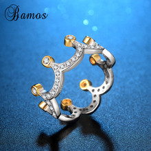 Bamos Exquisite Crown Engagement Rings For Women Luxury Cubi