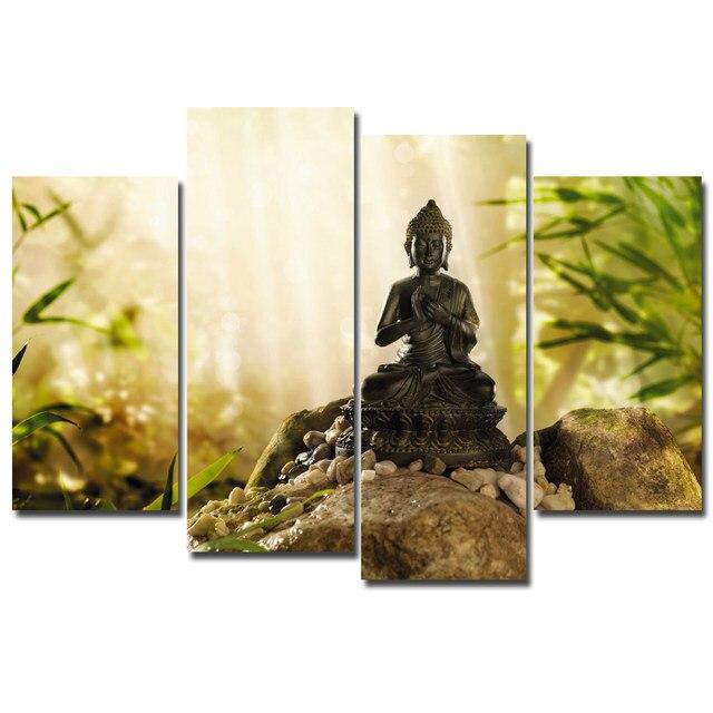 Online Shop 4 Pcs Buddha Statue Painting Canvas Print Painting ...