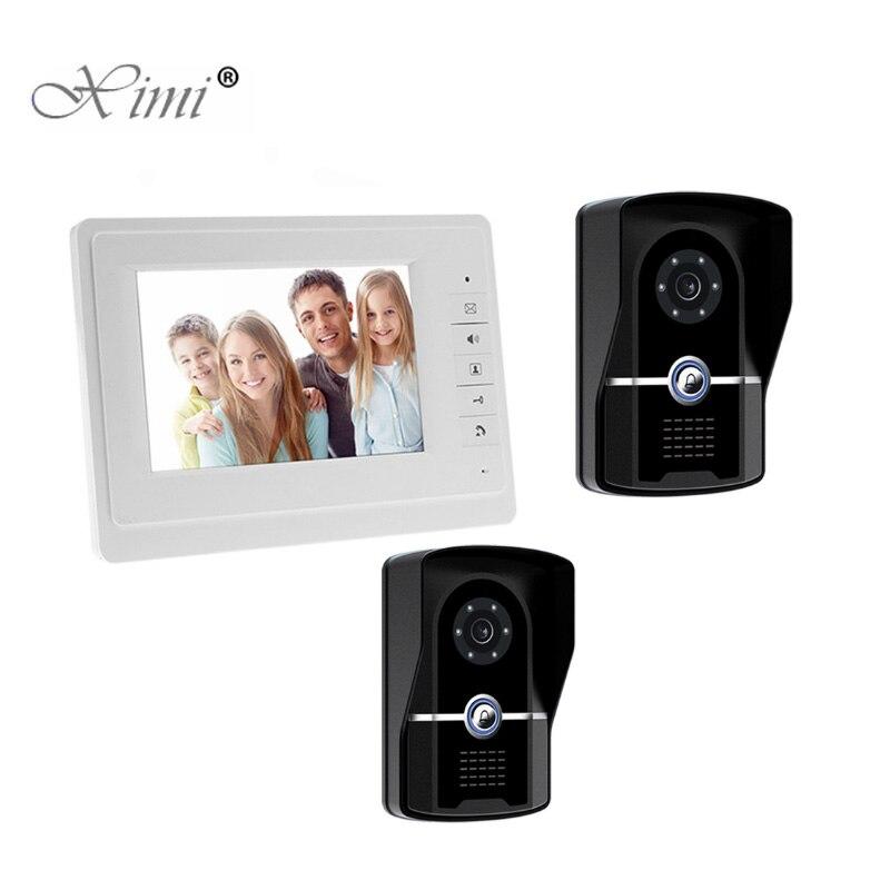 7 zoll Video Türklingel Zwei Outdoor Kamera Ein Innen Monitor 7 Wired Video Tür Telefon System Visuelle Gegensprechanlage Tür glocke