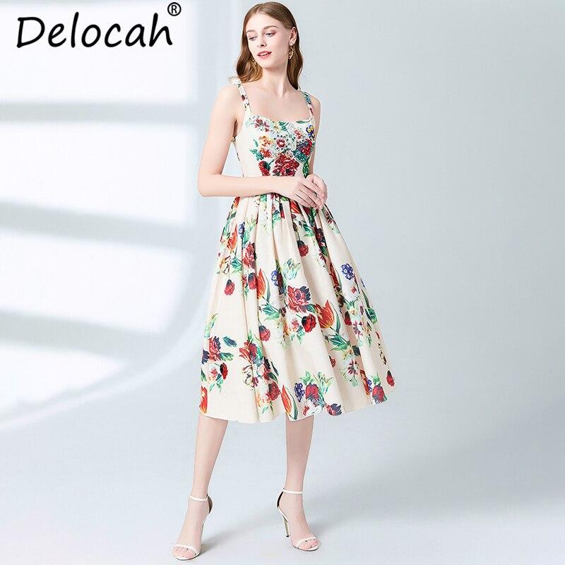 Delocah New Women Summer Dress Runway Fashion Designer Spaghetti Strap Floral Print Crystal Beading Cotton linen