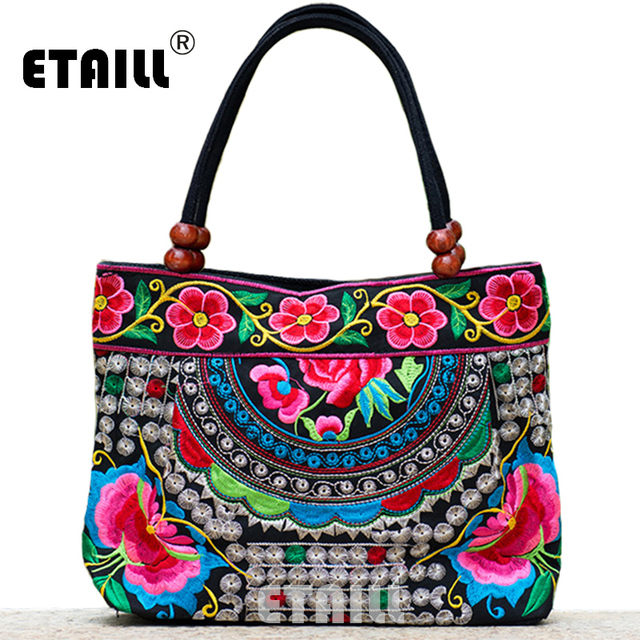 Indian Fl Embroidery Bags Ethnic Thailand Handmade Embroidered Luxury Handbags Women Designer With Logo Sac