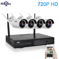 Hisseu 720P Wireless CCTV System 4CH Wifi NVR Powerful Wireless NVR IP Bullet CCTV Camera Home