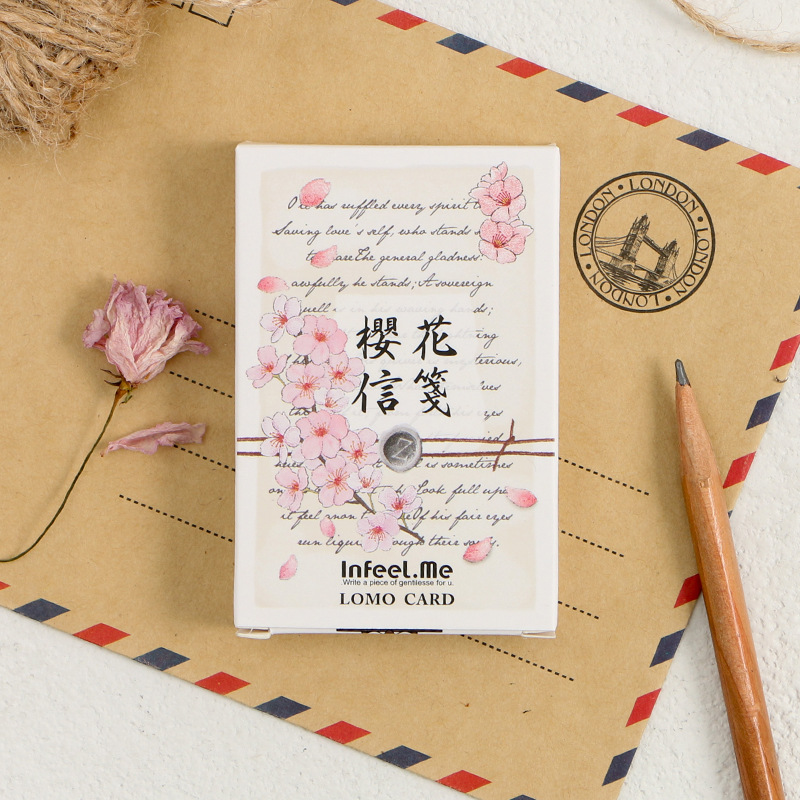 28 Sheets/Set Cherry  Letter Paper Mini Lomo Postcard /Greeting Card/Birthday Letter Envelope Gift Card Message Card