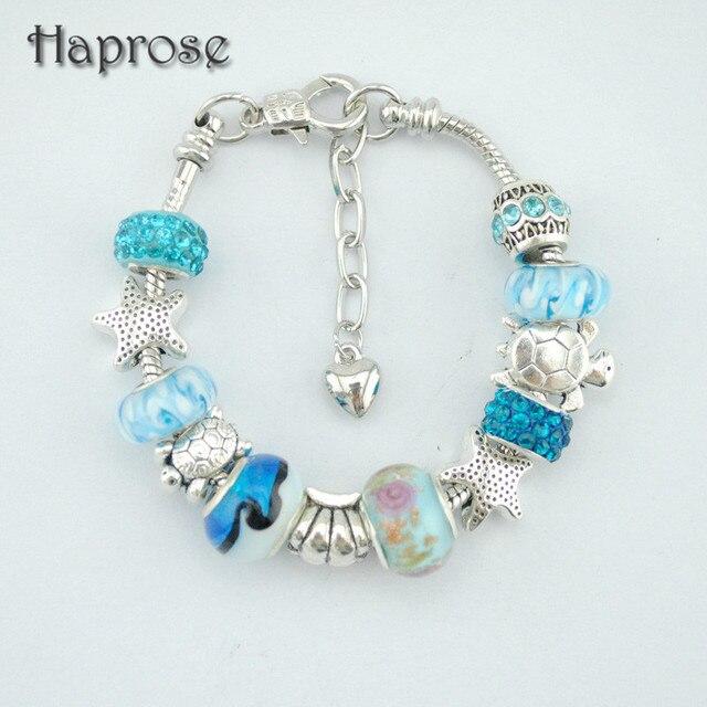 2017 Ocean Style Blue Crystal Gl Beads Charm Bracelets Bangles European Heart