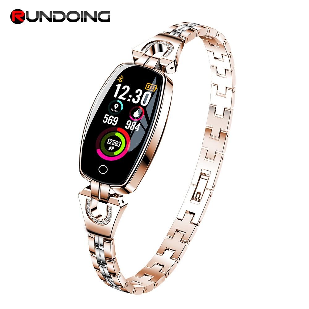 Rundoing H8 women smart wristband Fitness bracelet Heart Rate Monitor blood pressure blood smart band best gift for Lady new garmin watch 2019
