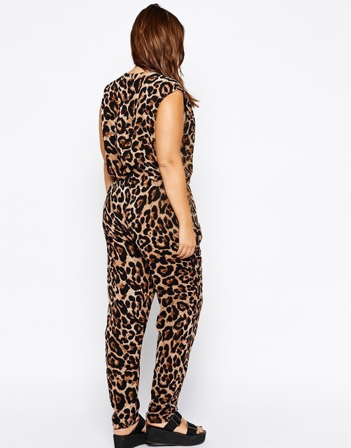 Sexy V-neck Plus Size Leopard Jumpsuits 2016 6XL Big Large Size Women Summer Jumpsuit 5XL Lady Loose Sleeveless Clothing 4XL 3XL