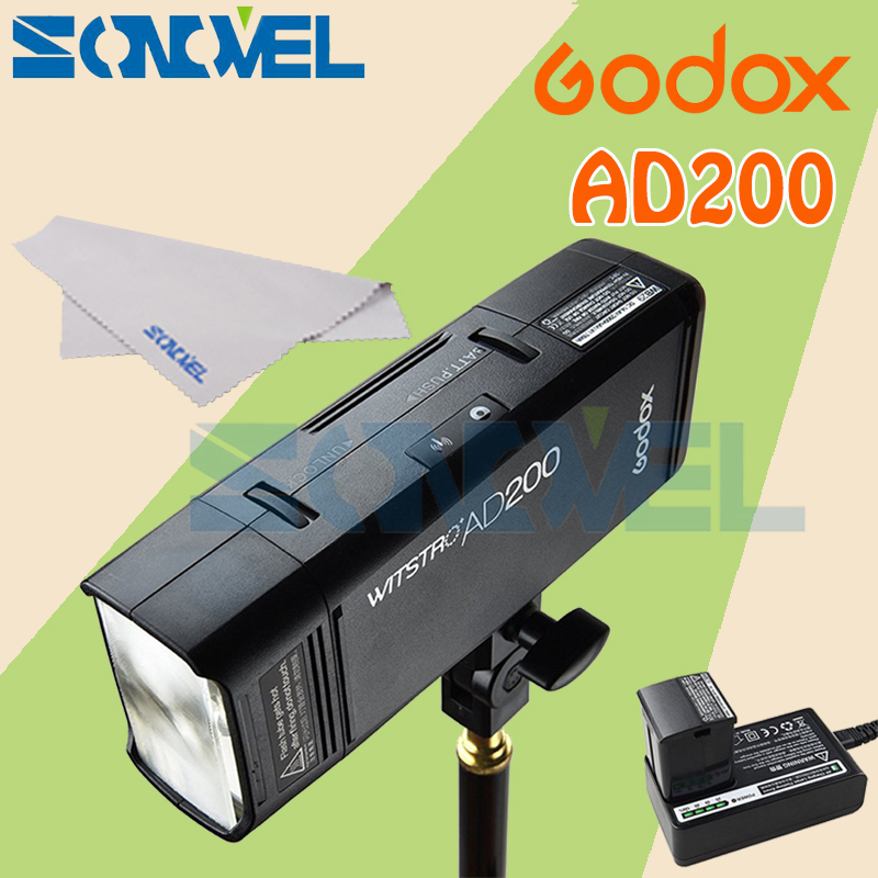 In Stock! GODOX AD200 TTL 2.4G HSS 1/8000s Pocket Flash Light Double Head 200Ws with 2900mAh Lithium Battery Flashlight Flash