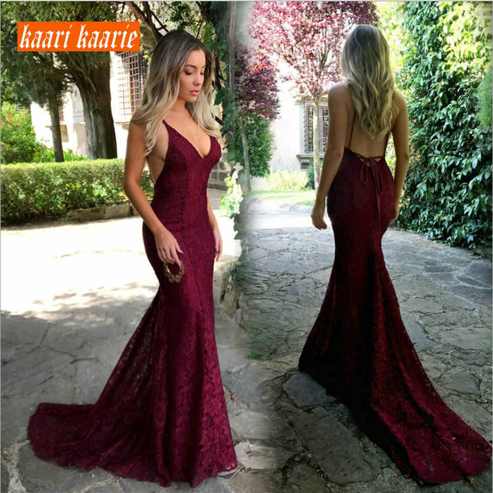 4116c5449a35c Fashion Burgundy Mermaid Long Evening Dress 2019 Sexy Club Evening Gown  V-Neck Lace Backless Slim Fit Formal Party Dresses Prom