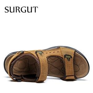Image 4 - SURGUT Brand Men Summer Fashion Sandals Beach Shoes Genuine Leather Comfortable Casual Shoes Men Roman Style Big Size 38 48