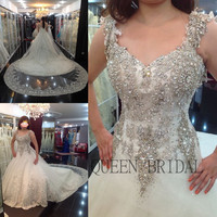 Custom long train sequins lace crystal lace beaded wedding dress 2017 bridal dress wedding gown dresses bride QUEEN BRIDAL XD78