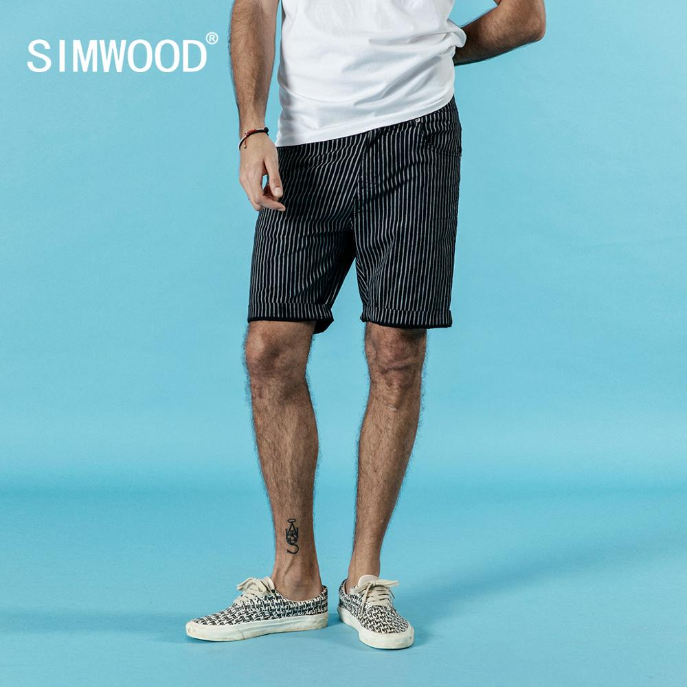 SIMWOOD 2019 summer new casual shorts men vertical striped knee length fashion shorts plus size brand clothing 190195
