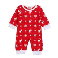 Christmas Style Cotton Printed Full Sleeve O-Neck Newborn Baby Girl Carters Clothes One-piece Jumpsuit Clothes Clothing Set