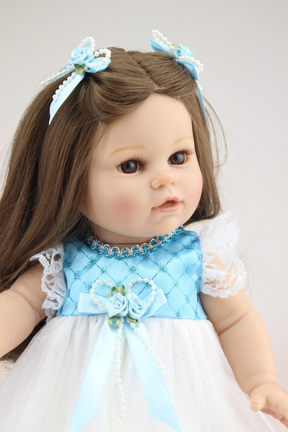American Girl Doll 18 inches Doll Reborn Real Silicone Doll Realistic Cute Doll Handmade Full Vinyl Gift for Children doll reborn princess18 inches american girl dolls babies realistic doll cute doll handmade full vinyl gift for children
