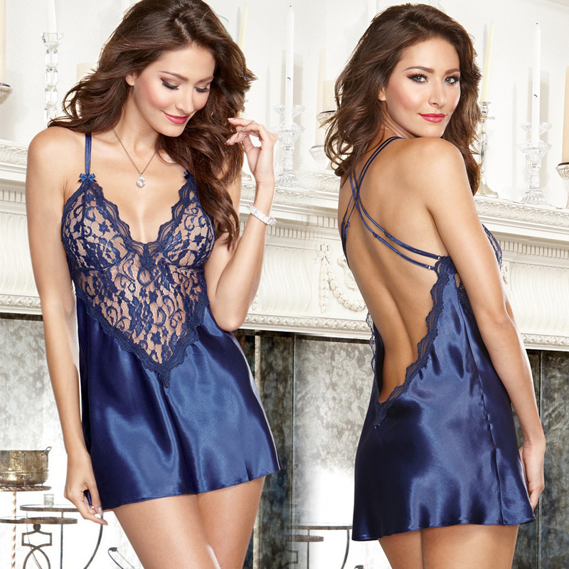 Satin Babydoll Erotic Sexy Lingerie Lace Short Dress Chemise Perspective Sex Costume Negligee Clothes Women Sexy Underwear girl shoes in sri lanka