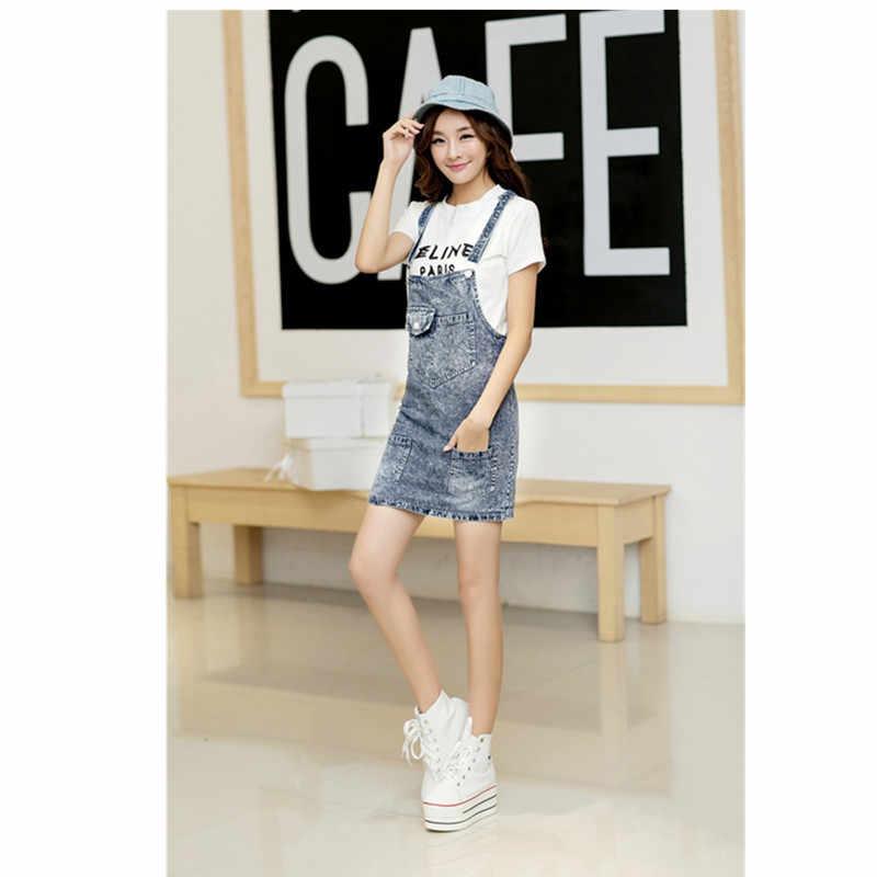 33fa8fa594d 2019 лето женские с подтяжками юбка джинсовая мини Короткая юбка  комбинезоны для девочек одежда модные подтяжки