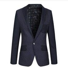 M-3XL!! The New Spring 2015 Men's Fashion Mens Brand Of High-Grade Splicing Dot Men Floral Blazer Mens Blazers Men's Suit Jacket