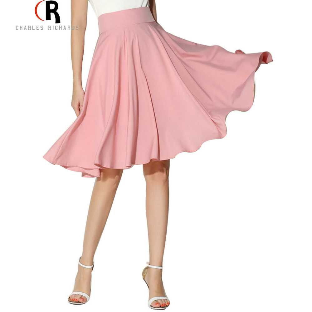 Midi Skirt Summer Women Clothing High Waist Pleated A Line Skater Vintage Casual Knee Length Saia Petticoat